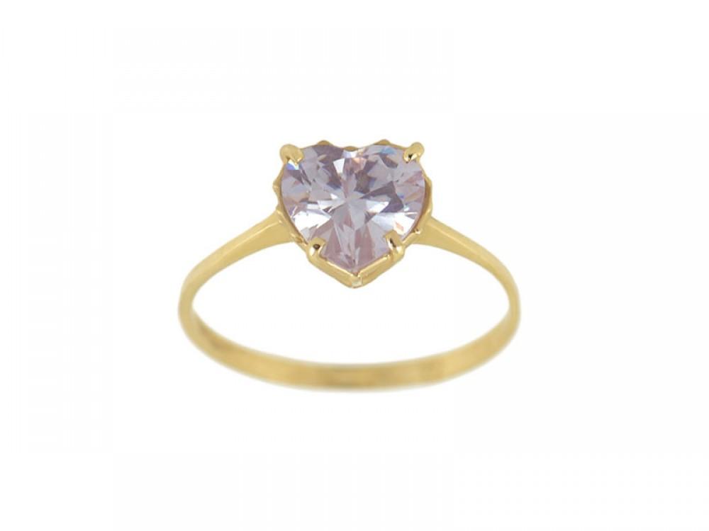 Златен пръстен с лилав камък във форма на сърце