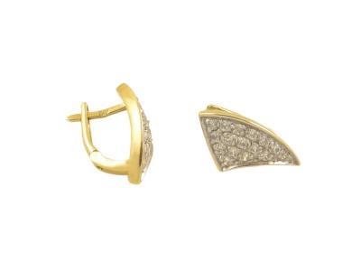 Златни обеци с малки бели циркони