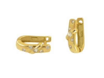 Златни обеци с бели циркони