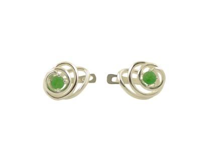 Сребърни обеци със зелен камък