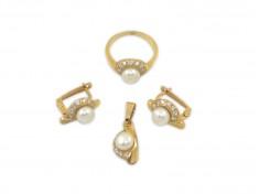 Златен комплект с бяла перла и циркони