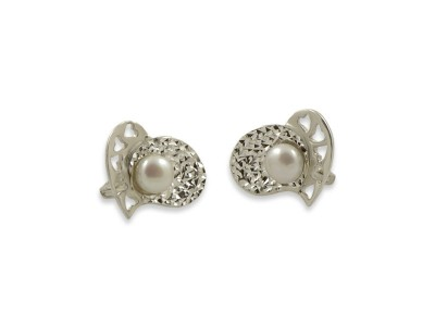 Сребърни обеци - Сърца с перла