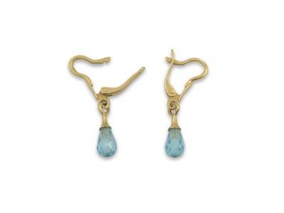Златни обеци с камък в нежно синьо