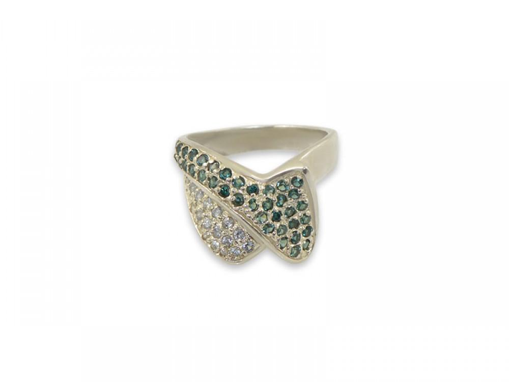 Сребърен пръстен с бели и зелени циркони