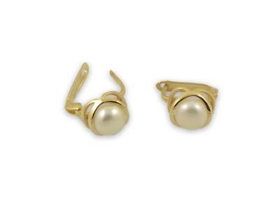 Стилни златни обеци с бяла перла