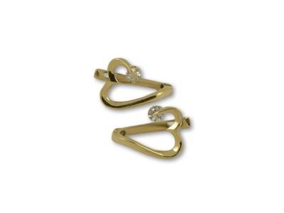 Нежни златни обеци в интересна форма на сърце