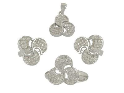 Сребърен комплект с малки бели циркони