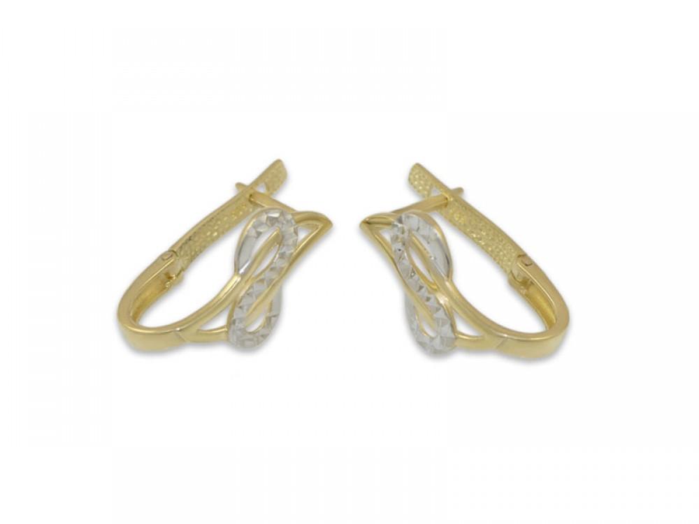 Интересни обеци в комбинация от бяло и жълто злато
