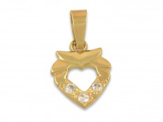 Златно сърце с три циркона