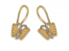 Златни детски обеци с пеперуди
