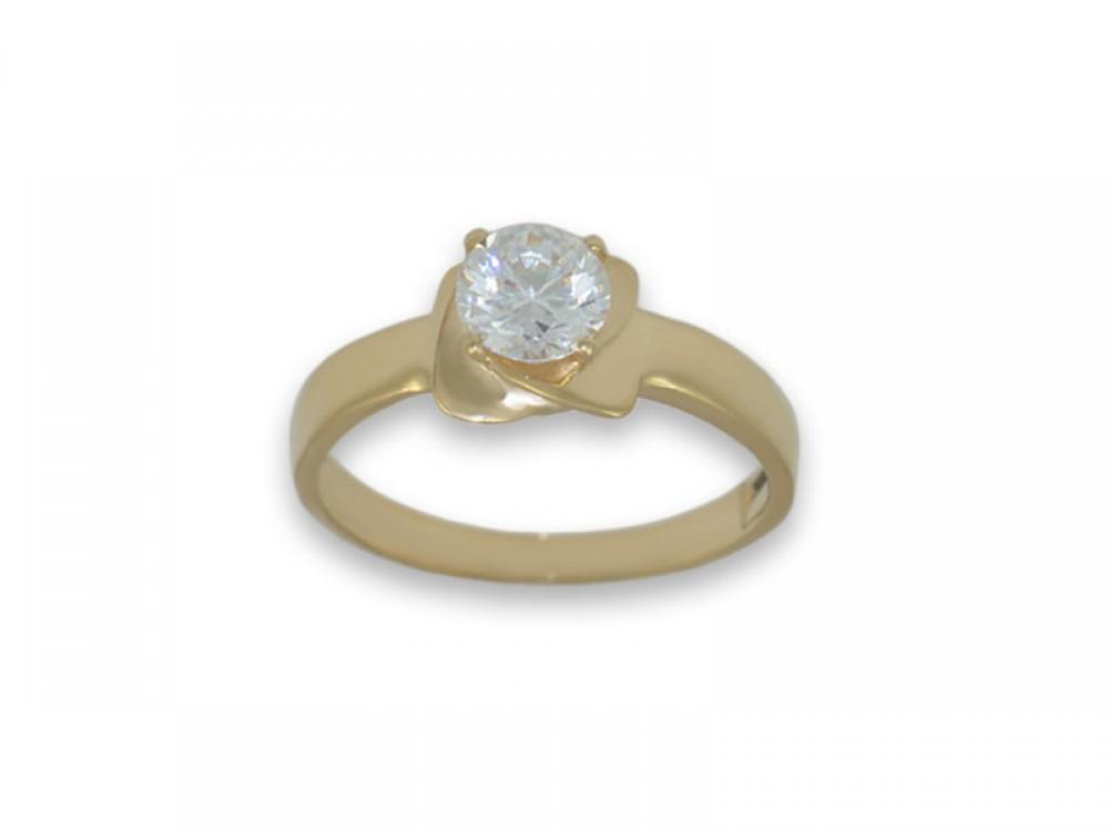 Интересен златен пръстен с циркон