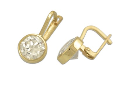 Стилни златни обеци с кръгъл циркон