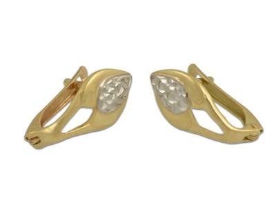 Златни обеци в жълто и бяло злато