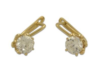 Златни обеци с блестящ бял камък