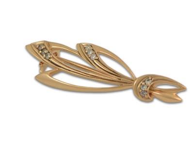 Уникална златна брошка с флорална форма