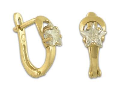 Златни обеци с камъчета-звездички