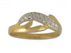Златен пръстен Бяло и жълто злато