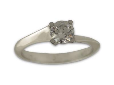 Асиметричен пръстен от бяло злато с циркон