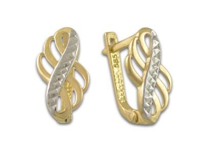 Златни обеци с имитация на камъни