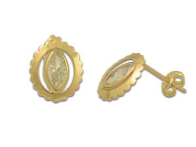 Златни обеци с камък в бадемова форма