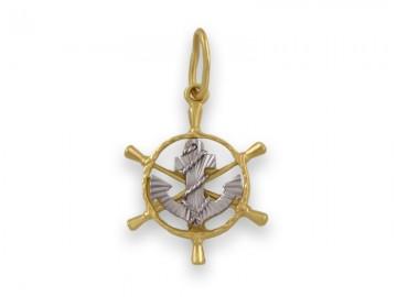 Златна висулка Корабен рул с котва