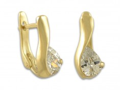 Златни обеци с камък във формата на капка
