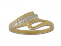 Нестандартен златен пръстен с имитация на камъни