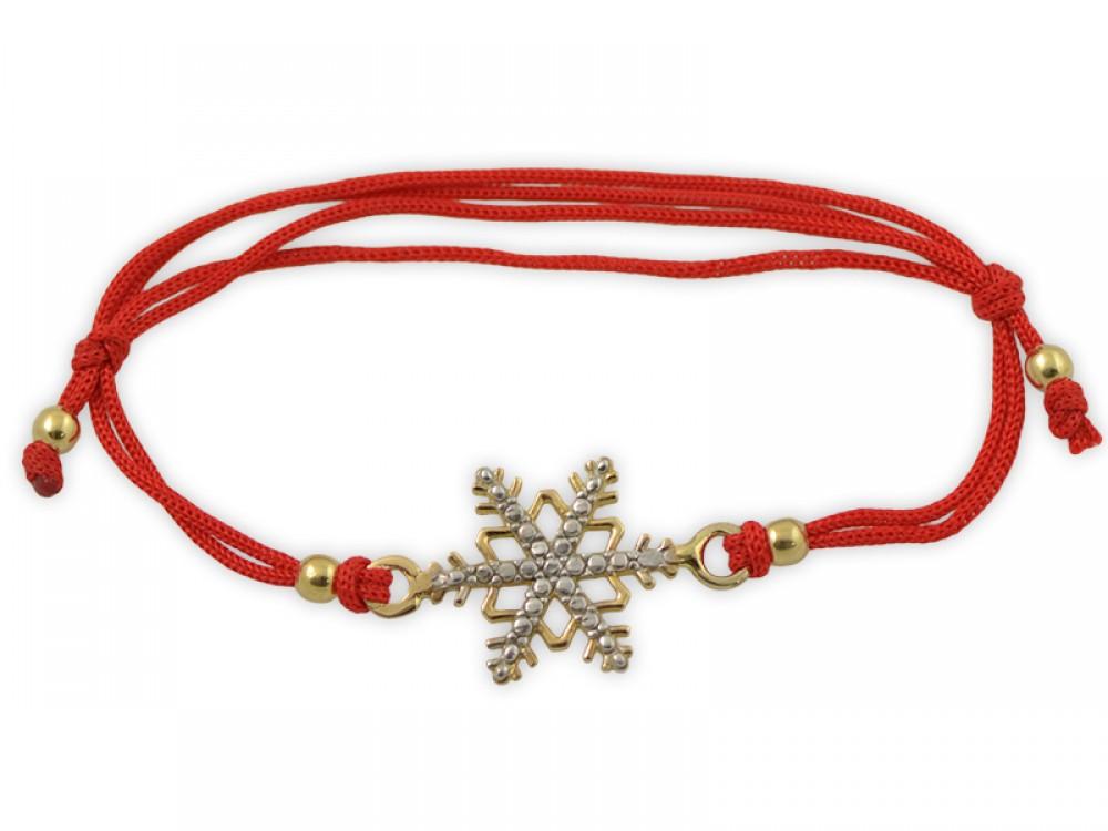 Гривна с червен конец и златна снежинка