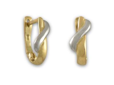 Златни обеци с вълнообразен мотив