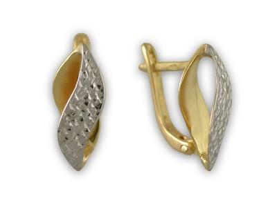 Вълнообразни златни обеци с гравюра