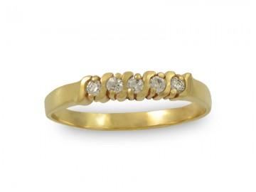 Златен пръстен с пет бели камъка