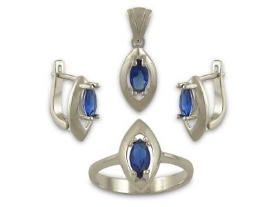 Сребърен комплект със сини камъни