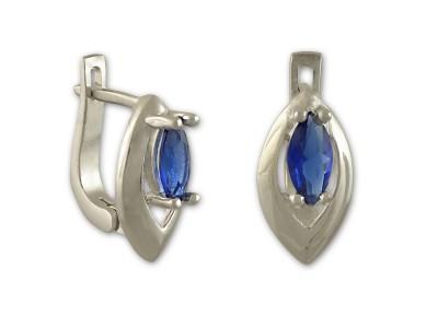 Сребърни обеци със син камък