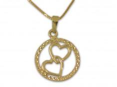 Златна висулка с две преплетени сърца
