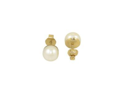 Класически златни обеци с бяла естествена перла