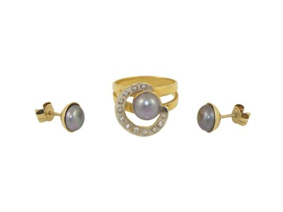 Златен комплект с черна перла и цирконии