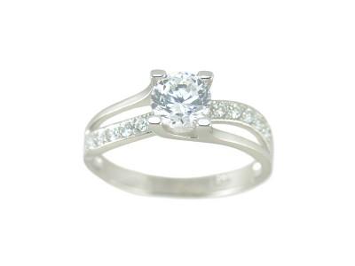 Сребърен пръстен с голям централен циркон