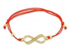 Златна гривна с червен конец и безкрайност
