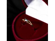 Златен пръстен с черен камък Маркиз