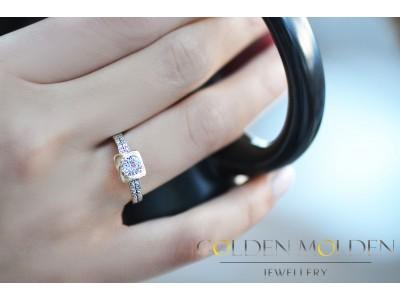 Златен пръстен с циркон и блестяща гравюра