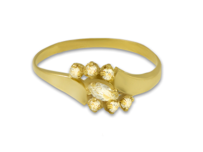 Златен пръстен с бял камък Маркиз и малки кръгли циркончета