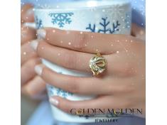 Масивен златен пръстен с имитация на камъни