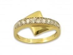 Златен пръстен с единадесет бели циркона