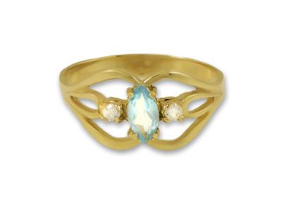 Златен пръстен с естествен син топаз