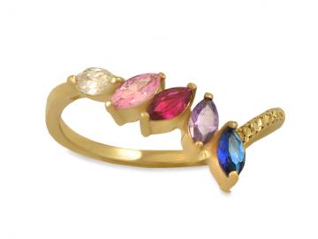 Златен пръстен с голям розов и малки бели циркончета