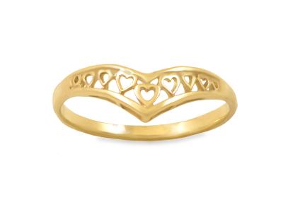 Златен пръстен с миниатюрни сърчица