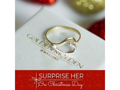 Златен пръстен със стилизирано сърце