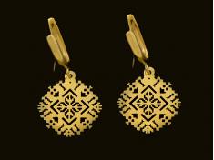 Висящи златни обеци с ажурна шевица