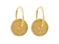 Златни обеци халки с кръгла плочка и шевица