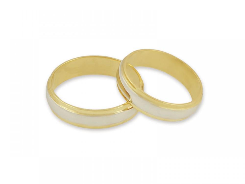 Брачни халки в комбинация от бяло и жълто злато